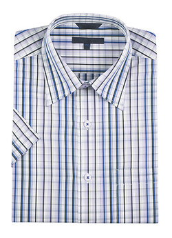 Blue and grey plaid button-up shirt