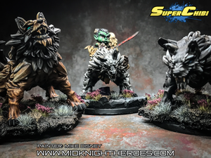 Midknight Heroes Grog, Ember and Shade painted by Mike Disney