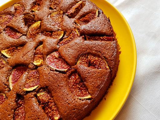 Gâteau figues fraîches cacao