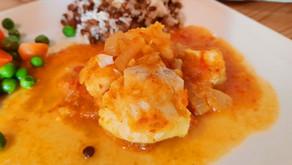 """Curry de poisson """"voyage à Goa"""", riz à la noix de coco"""