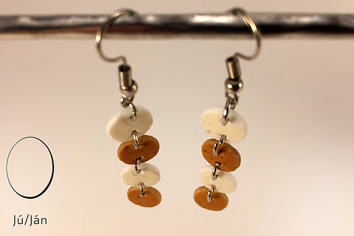 Earrings Disk White Brown