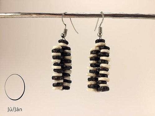Earrings Straight Black White Duo