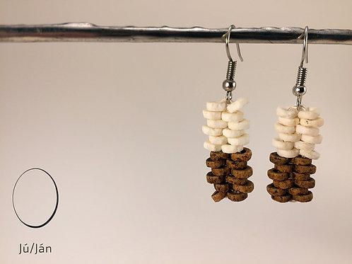 Earrings Straight White Brown Duo