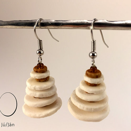 Earrings Conic White Brown