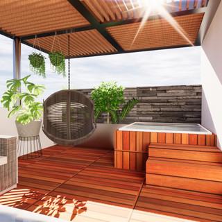 Terraza en roof con jacuzzi