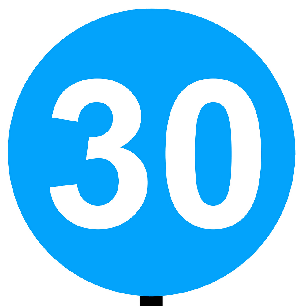 Italian traffic road sign minimum speed