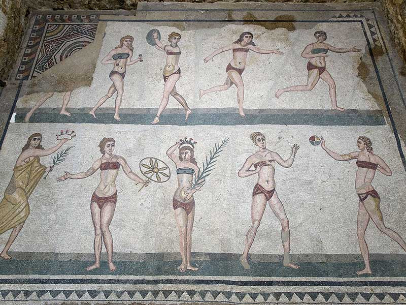 Bikini Girls Mosaic Villa Romana del Casale, Sicily, Italy