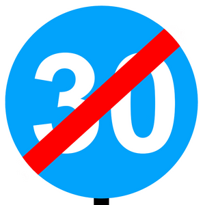Italian traffic road sign end of zone