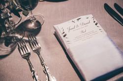 Wedding menu in napkin