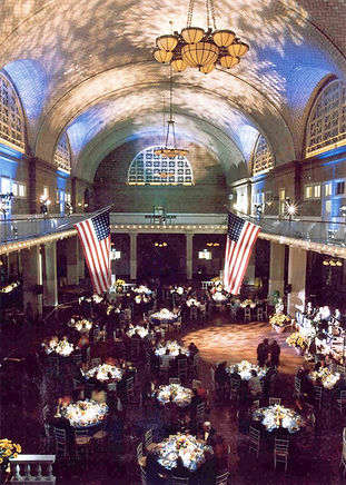 View of Table Arrangements with American flags