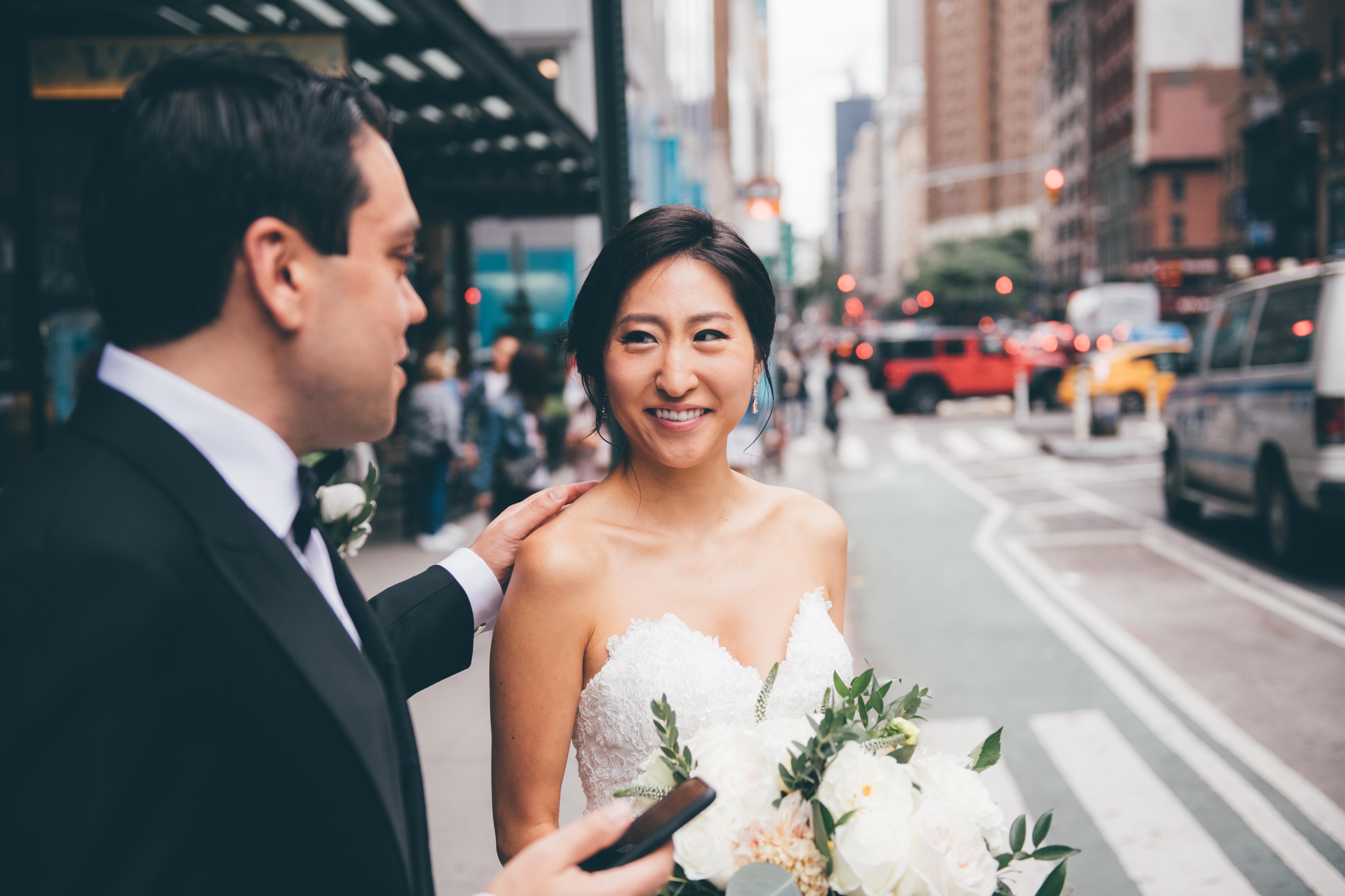 Bride and Groom outside Kimpton