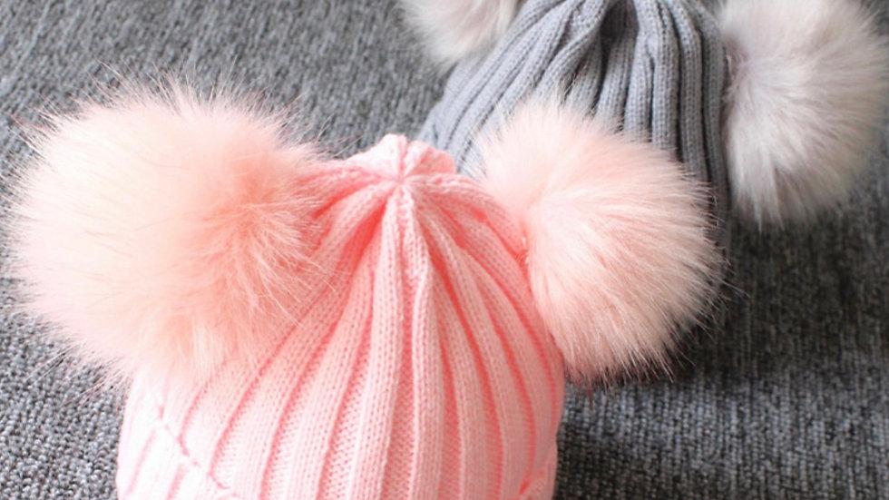 Pearl Pom Pom hat PINK
