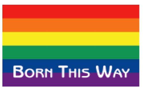 "Autocollant Rainbow ""Born This Way"" 5 x 7.6 cm"