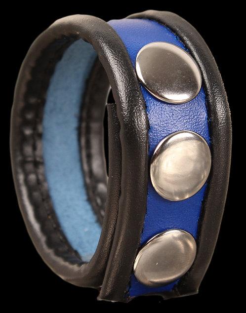 Cockring en cuir 3 pressions Noir-Bleu