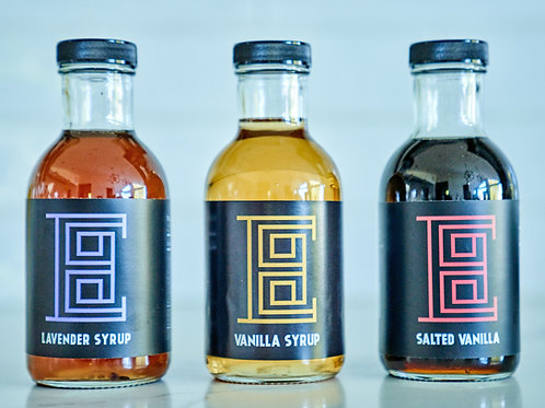 The TRIO  (Salted vanilla syrup, Lavender syrup, house vanilla syrup)