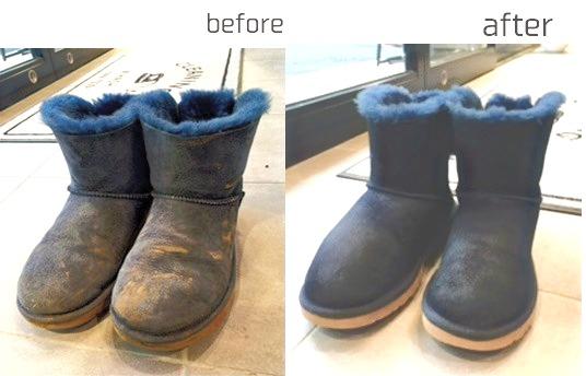 UGGムートンブーツクリーニング、ビフォーアフター画像 泥汚れ
