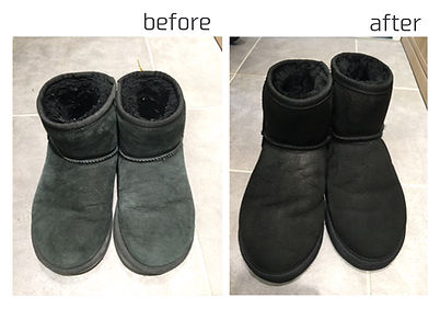 UGG ムートンブーツ 黒色 before&after