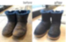 紺色 UGGムートンブーツ before&after 泥汚れ