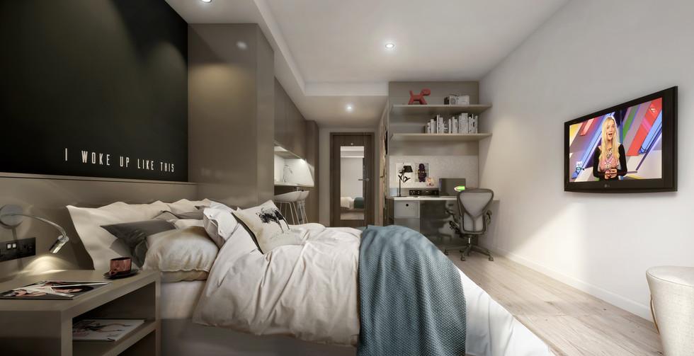 Glasgow - studio 1 - bed, desk, tv, kitc