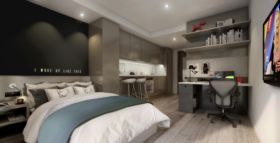 Glasgow - studio 2 - bed, kitchen, desk.