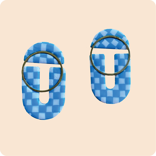 Cymran - Blue Checkered Earring