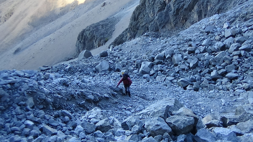 The boulder field on the approach to the base of the North Face Standard route, photo by Peter M. Naituli, June 21st 2017