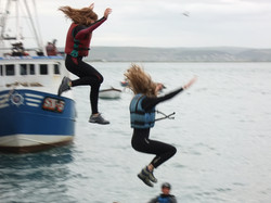 Taking a leap from Appledore Quay.