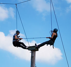 High Allaboard on the Skern Lodge high ropes course