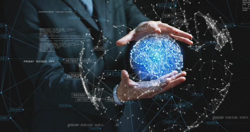 Futuristic businessman in suit holding a blue microchip ball, world internet connection, speed, cont