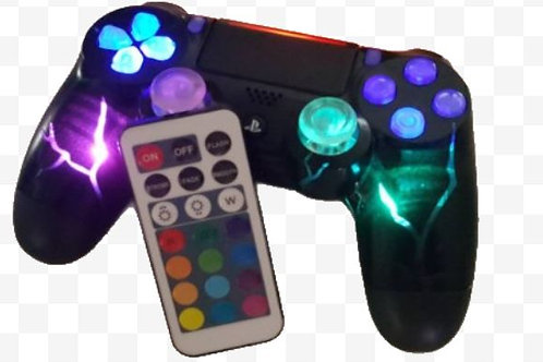 "PS4 Wireless ""Black ICE"" independent controllable LEDs +remote"