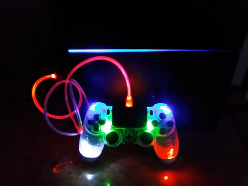 "PS4 Wireless LED controller with LED visible light cable ""TechFire SparxX"""