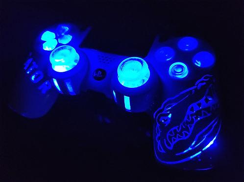 White PS4 Gator football light up Controller