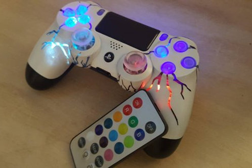 """PS4 Wireless """"ArcadeFi2e"""" independent controllable LEDs custom made+remote"""