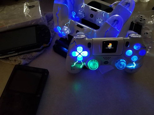 Custom TechFire controller with OLED programmed screen PS4 controller