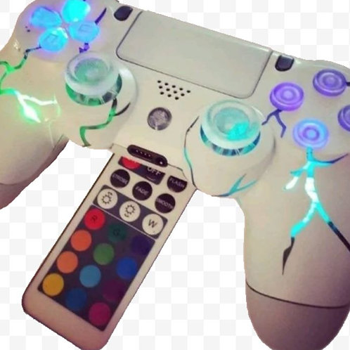 """PS4 Techfire """" White Out"""" wireless LED controller + remote"""