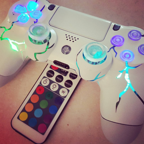 """PS4 Wireless """"ArcadeFi2e 2"""" independent controllable LEDs custom made+remote"""