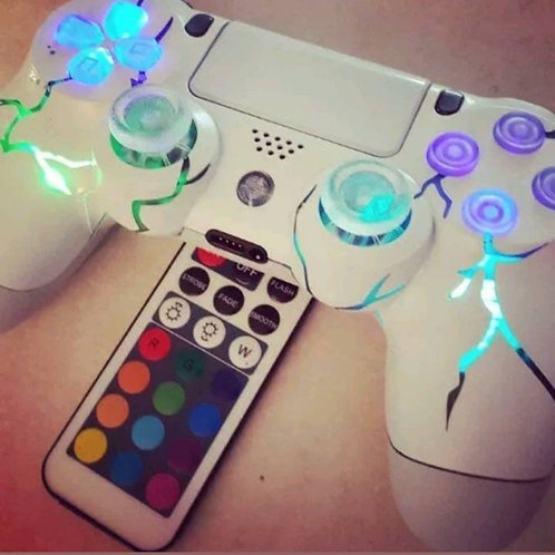 TechFire PS4 wireless LED controller + remote WHITE Out edition