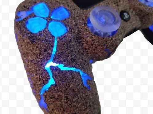 "PS4 TechFire Blue ""Broken Rock"" custom PS4 controller LED stone gaming *"