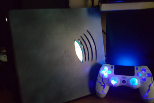 PS4 slim LED console+wireless controller both custom made