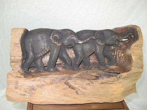 Elephant Teak Wood Carving