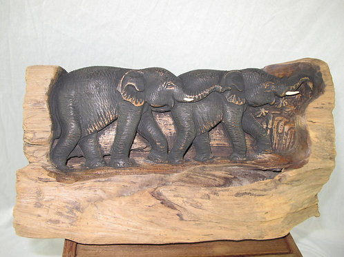Teak wood carving elephant for wall hanging