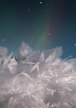 Hoar frost under aurora