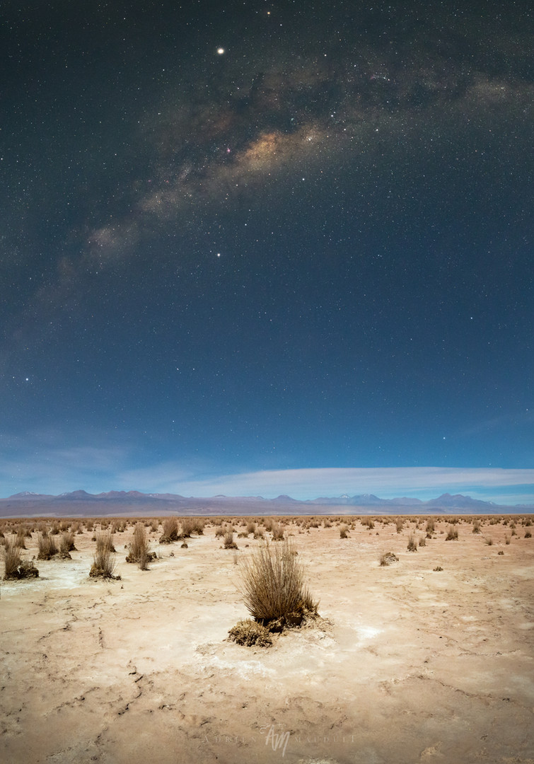 Atacama desert under 78% moon