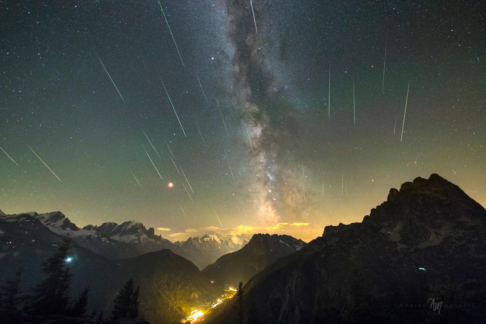 Perseid meteor shower in the Swiss Alps