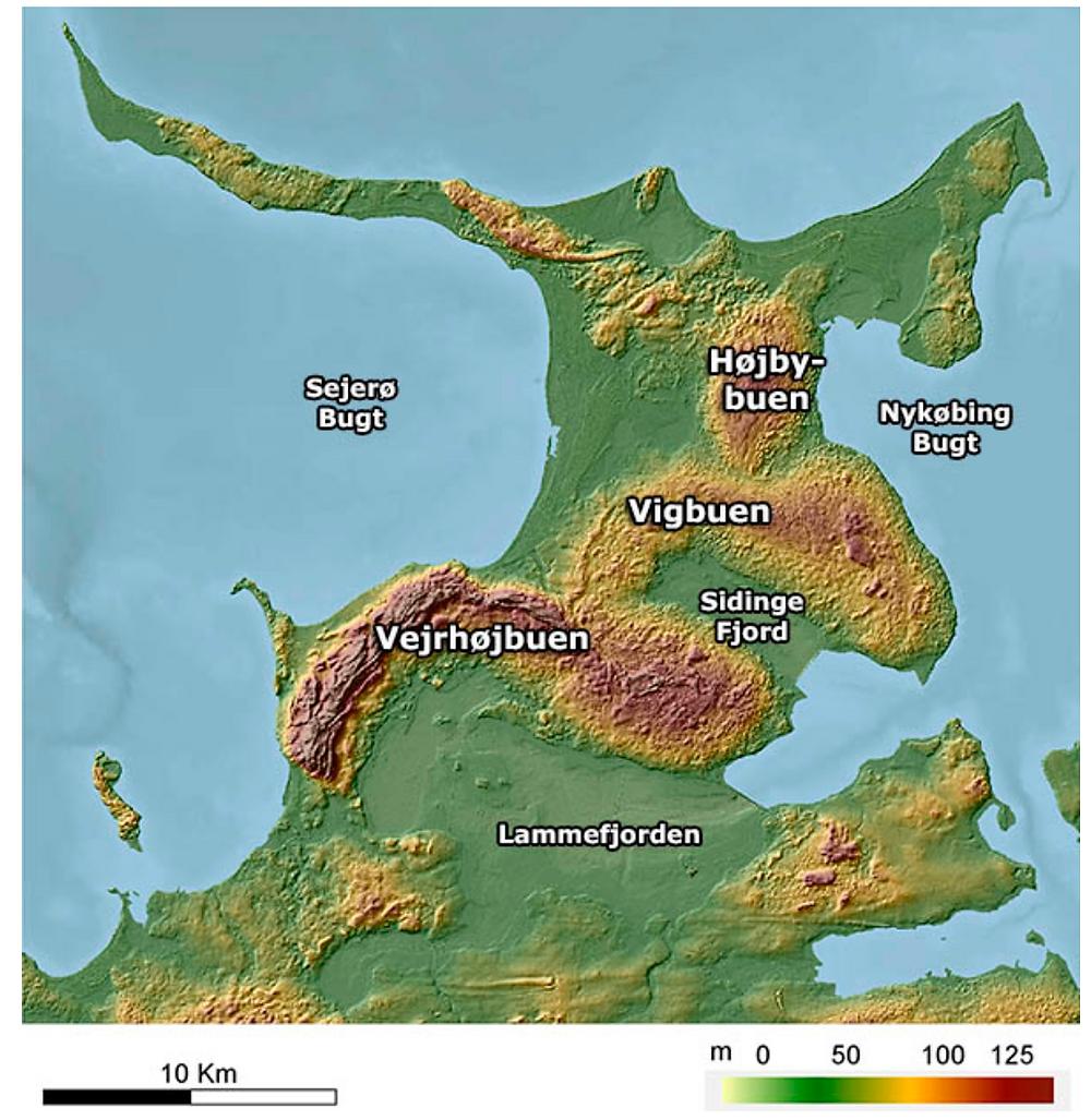 Altitude map of the Odsherred geopark area (credits: http://www.geoparkodsherred.dk)