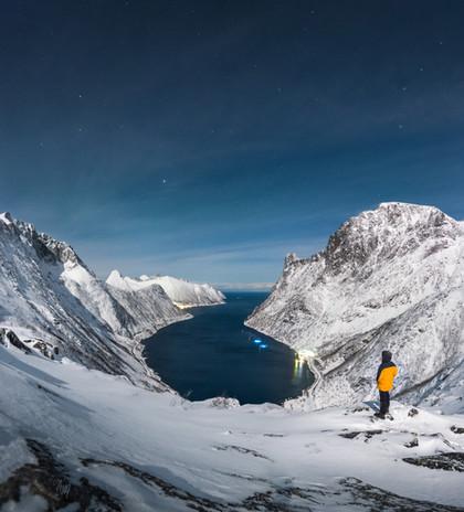 Night hike in Senja's fjords