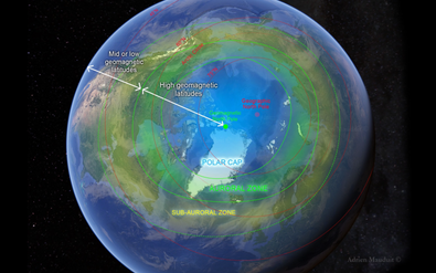 We explain the daytime and nighttime auroral oval, the different zones it creates depending on the strength of the geomagnetic activity, how the geomagnetic latitude and longitude affects how you see the aurora in space and time.