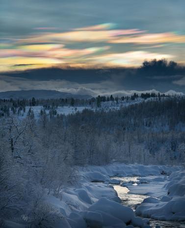 Nacreous clouds during polar night