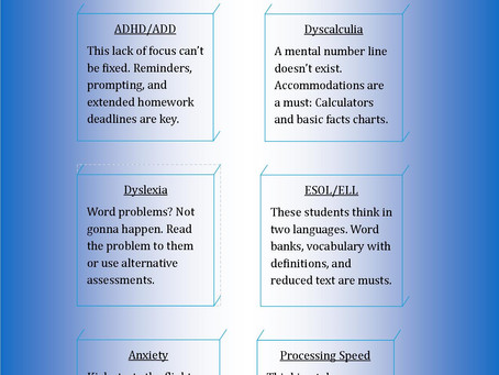Special needs cheat sheet for teachers