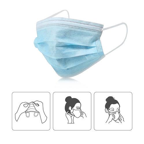 Box w/50 Units Disposable 3-Ply Face Masks